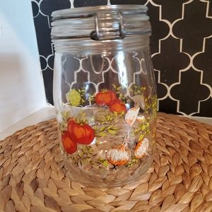 Vintage 70's Glass Canning Storage Jar with Lid